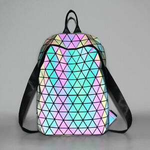 Women Classic Diamond Luminous Geometric Backpack Laser Bag Travel Bag Tote D1
