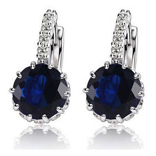1 Pair Fashion Women Elegant Crystal Rhinestone Silver Plated Ear Stud Earrings