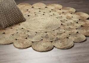 Rug 100% Natural Jute Bohemian Reversible rustic look area carpet home decor rug