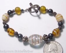 Art Glass Bracelet, Gray Faux Pearl/Amber/Clear/White Swirl Beads,Sterling Clasp