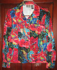 Chico's 1 S Jacket Blazer Shirt Asian Print Ethnic Button 100% Cotton Colorful