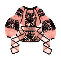 Ukrainian embroidered pink tulle blouse boho - folk ethnic vyshyvanka. All sizes