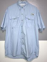 COLUMBIA PFG Men's Omni-Shade Ski Blue Vented Fishing Men's Shirt Size M