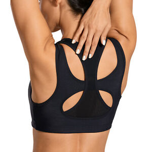 SYROKAN Women's Sports Bra High Impact Double Layer Wirefree Padded Racerback