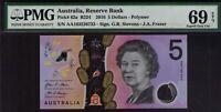 PMG 69 Australian Banknotes $5, 1 x First Prefix AA163526733 Superb Gem UNC 2016