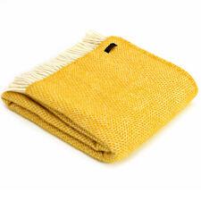 TWEEDMILL TEXTILES 100% Wool Sofa Throw Bed Blanket BEEHIVE YELLOW HONEYCOMB