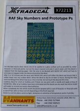 Xtradecal 1/72 X72213 RAF Sky Numbers and Prototype P's decal set