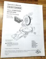 "Operator's Manual Craftsman 10"" Compound Miter Saw No. 315.212500 w/Parts List"