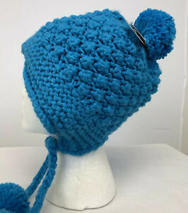 Dakine CLARA Womens Pom Beanie Popcorn Knit Bonnet Winter Hat - Azure Blue NWT
