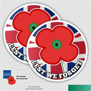 2 x Poppy Remembrance Day Car Sticker - Lest We Forget Car, Van, Lorry, HGV