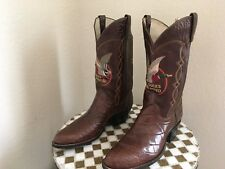 1982 VINTAGE BROWN DAN POST DUCKS UNLIMITED COLLECTORS ALLIGATOR BOOTS 10.5D