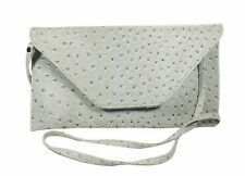 GRAY/SILVER FAUX OSTRICH LEATHER ENVELOPE CLUTCH shoulder bag, cross over