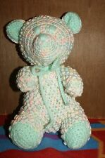 HAND MADE CROCHET TEDDY BEAR BABY COLORS TRIMMED IN LT. GREEN