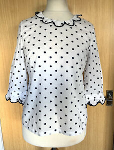 Boden Ladies Blouse Top 12 Scalloped Spotty Polka Dot Navy Holiday Summer Smart