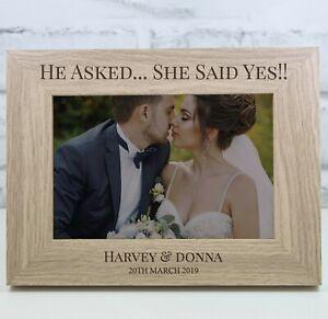 Personalised Engagement Photo Frame Keepsake Wooden Photo Frame Wedding Gift