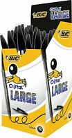 NEW BIC CRISTAL PENS LARGE 1.6MM BIROS BALLPOINT, CHEAP IN BLACK OR BLUE OFFICE