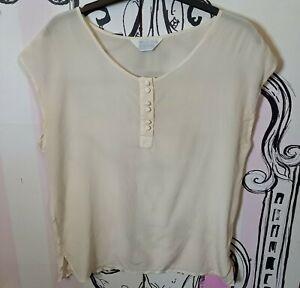 Size 10 Coocoon 100% SILK Cream Beige Sheer Sleeveless Vest Top Retro