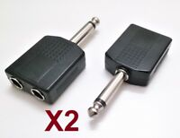 Adaptador Audio Doble Jack Hembra 6,3 mm A Jack Macho 6,3 mm Mono - 2 Unidades