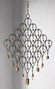 Large Iron Wind Chime Adorned With Bells and Multi Colour Beads Garden Indoors