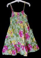 Girls M&S Green Pink Floral Strappy Summer Cotton Sleeveless Dress Age 8 Years