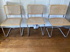 3 x Marcel Breuer Cesca Style Cantilever Chairs Italian Chrome Rattan Vintage