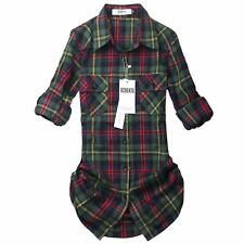 OCHENTA Women's Long Sleeve Boyfriend Style Plaid Shirt Green Size 0 (K109)