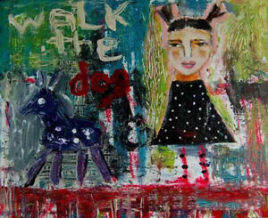 8x10 Print - Little Girl Pigtails Walking The Dog Print Katie Jeanne Wood