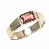 Pink Tourmaline Natural Gemstone 925 Sterling Silver Ring Size 8 SR-637