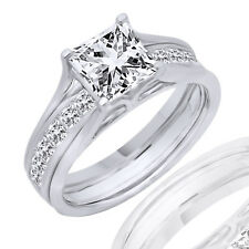 2.00 Ct Square Princess Cut Engagement Bridal Band Set Ring Solid 14K White Gold