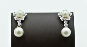 Estate 18K Pearl and Diamond Earrings Round 8mm Dangle Drop Gold Flower Studs