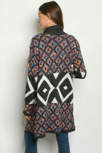 New Northern Angel Boho Colorful Long Sleeve Western Sweater Duster Cardigan S
