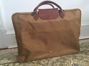 Longchamp Beige Brown Mustard Travel XL Light Weight Nylon Bag Excellent