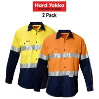 Mens Hard Yakka Koolgear Hi-Vis Safety Summer 2 PK Long Sleeve Work Shirt Y07978