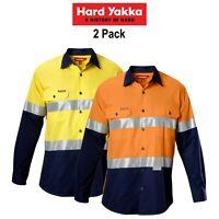 Mens Hard Yakka Koolgear Hi-Vis Safety Summer 2 PK Long Sleeve Work Shirt Y07978