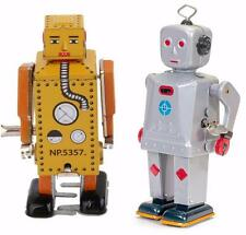 Tin Toy Robot Collector Display Set 2 Schylling Sparkling Mike Lilliput Wind Up