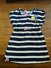 Hanna Andersson Peanuts Snoopy Terry Swim Cover Navy Blue Striped Girl's 110cm
