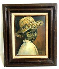Original Art Oil Painting Signed Black Girl Child -Sun Flower - by Hazel R Tripp