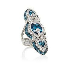 Rarities Carol Brodie 11.58ctw London Blue Topaz & Gem Elongated Ring Size 7 HSN