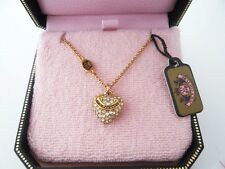 Auth Juicy Couture Wish Pave Heart Necklace Gold Tone Clear Stone $48