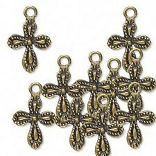 Cross Charms Antiqued Brass 15mm Steampunk Christian Lot of 10