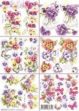 Feuille MIDI 3D à découper A4 Fleurs Pensée 8215.517 Decoupage Flower