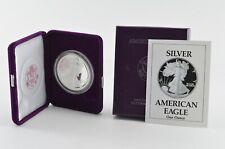 1990 American Silver Eagle - Proof - 1 Oz. Silver Bullion Velvet Box & Coa