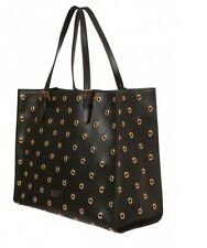 RED Valentino Black Leather with Gold Eyelet  details Tote Retails $975
