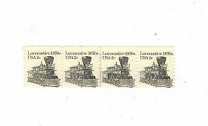 #1897a Miscut Coil strip of 4 1870s Locomotive 1982 MNH plate # 2 at top