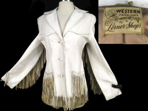 Vintage 50s Western Fashions by Lerner Shops Jacket S Fringe White Leather As-Is