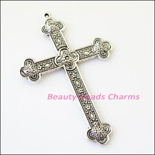 2Pc Antiqued Silver Tone Flower Cross Charms Pendants 53.5x80mm