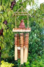 Bamboo Buddha Windchime, 6 Medium Tube, Natural Wooden Wind Chime, Garden,Home