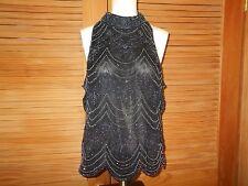 Papell Boutique Evening100% Silk Gunmetal Beads Sleeveless Top XL #3547