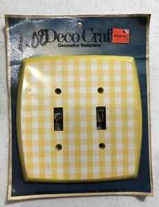 Vintage Kitsch 70s 80s Yellow Buffalo Plaid Double Light Switch Cover Plate