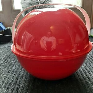 Vintage Red Ingrid Mid Century Mod Picnic Set Plates Atomic Party Ball